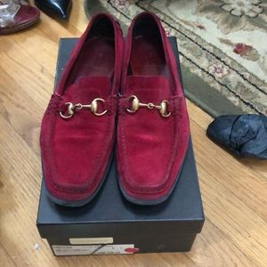 Red Gucci suede loafers size 8